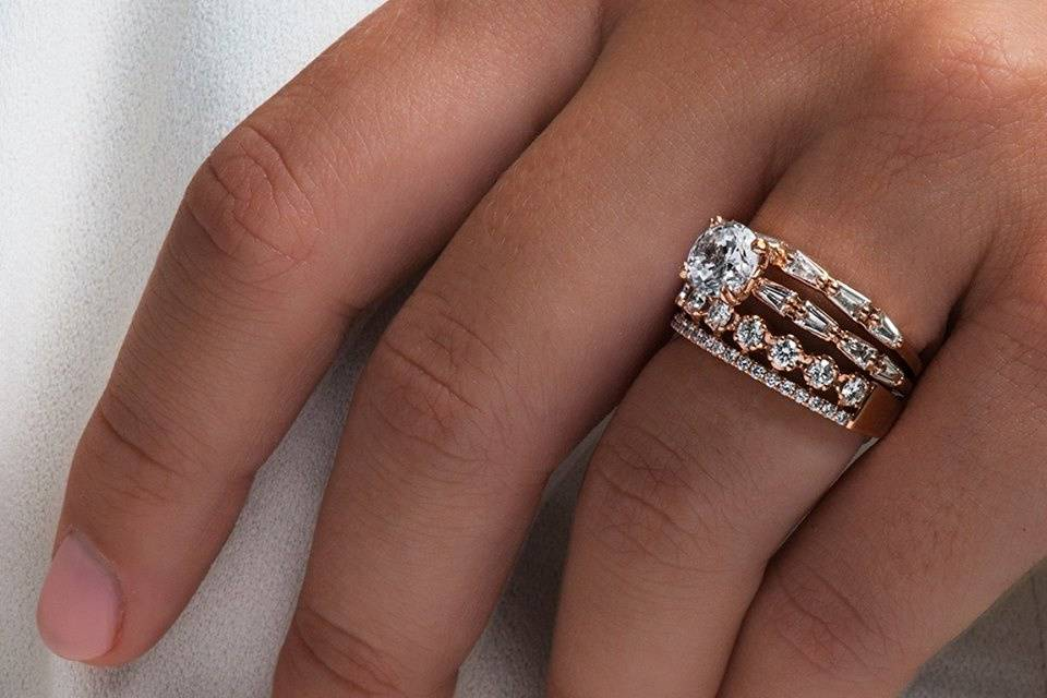 Stackable rose gold engagement
