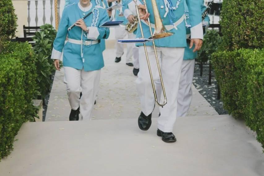 Italian folk marching band performing at La Cervara, Portofino - photo by Pure White Photography