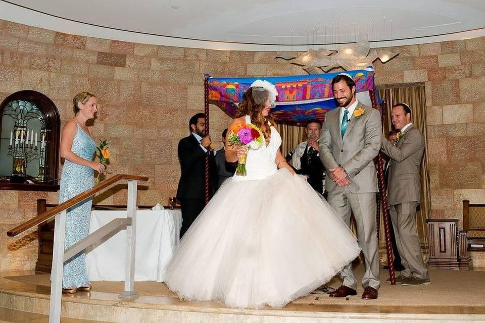 A beautiful wedding inside a synagogue