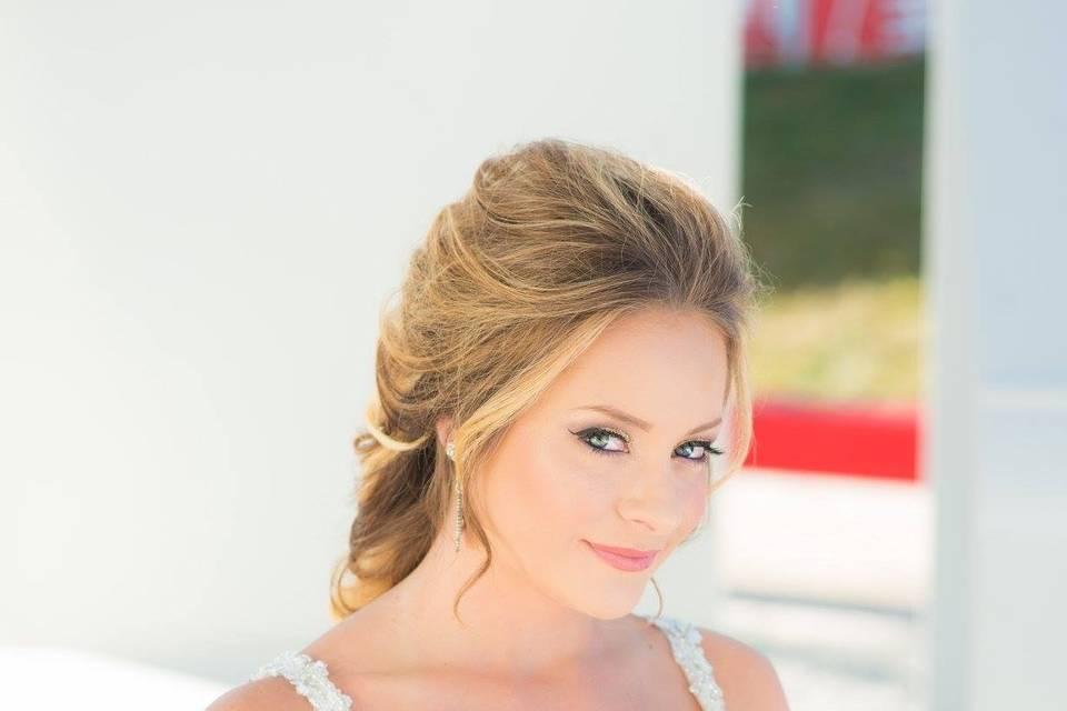 Braided hair & elegant makeup