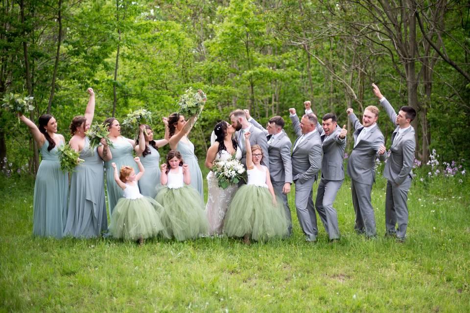 Happy wedding party, Erica Dietz Photography