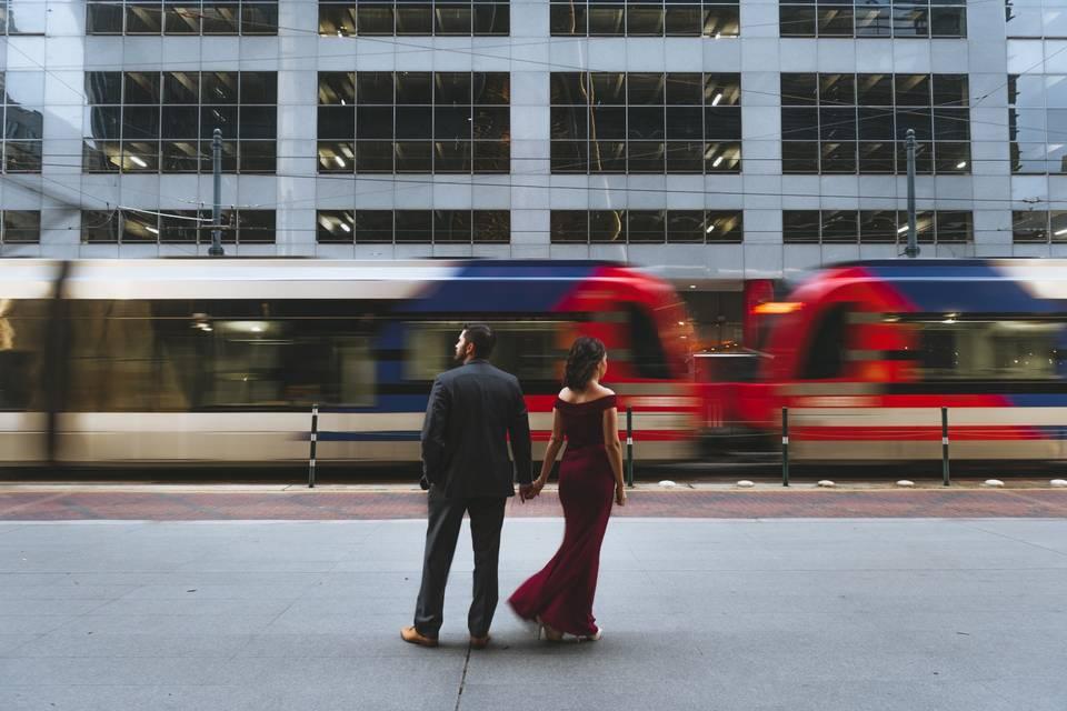 City chic engagement