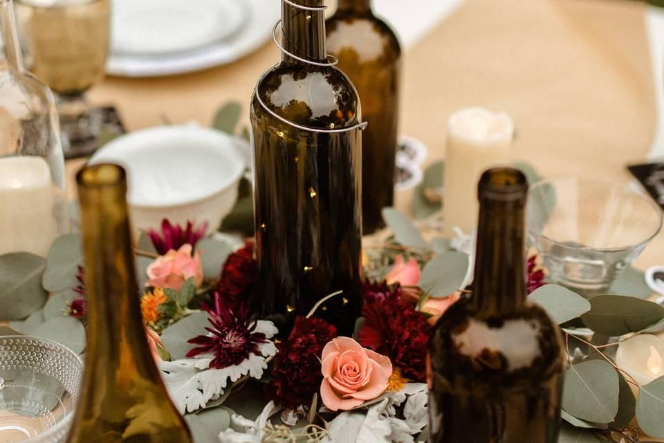 Cut wine-bottle centerpieces