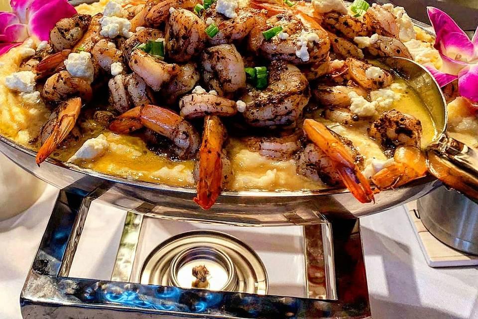 Jerk shrimp and grits