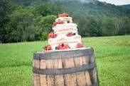 Wedding cake on a barrel