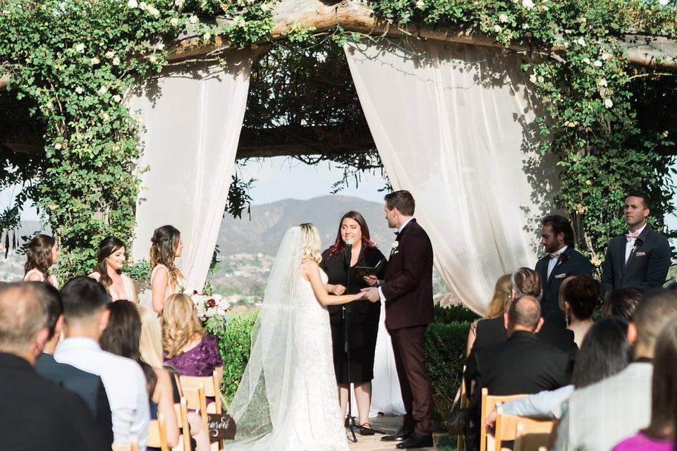 Wedding vows in the sunshine