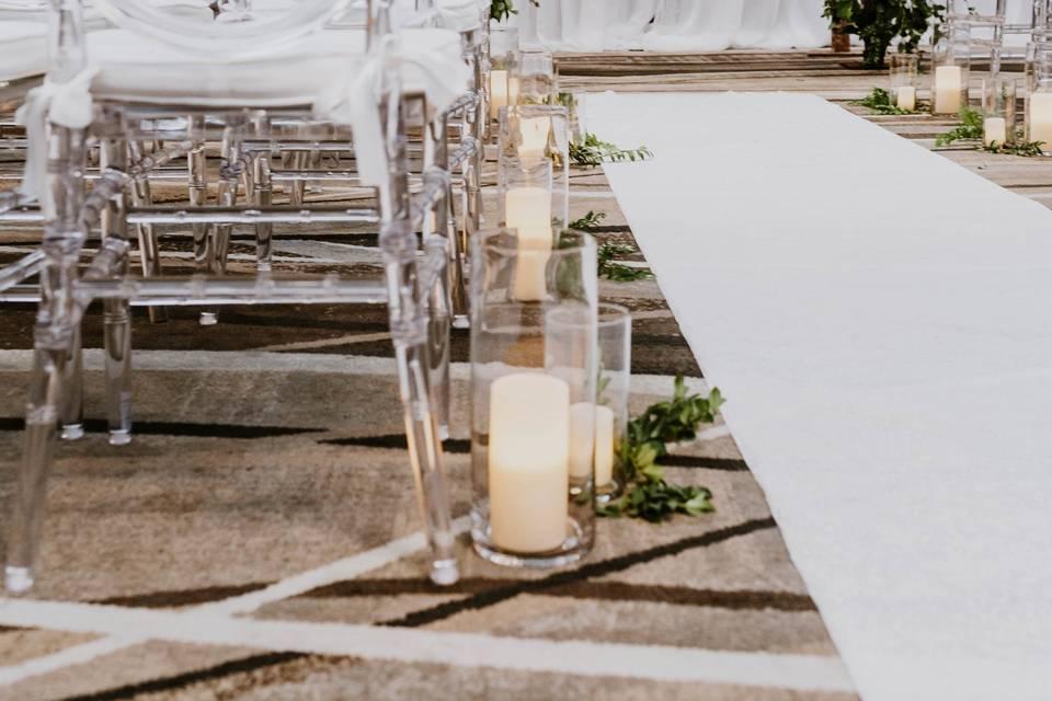 Indoor Ceremony/ Aisle Decor