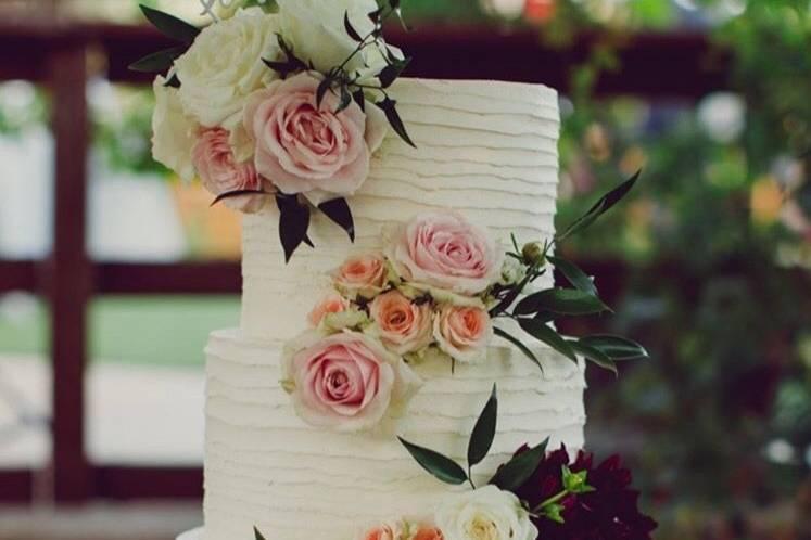 Three-tier textured cake