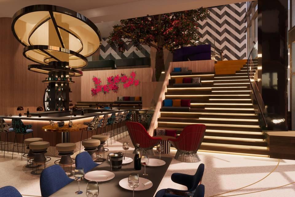 Hotel living room bar