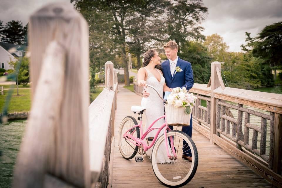 Newlyweds on bridge