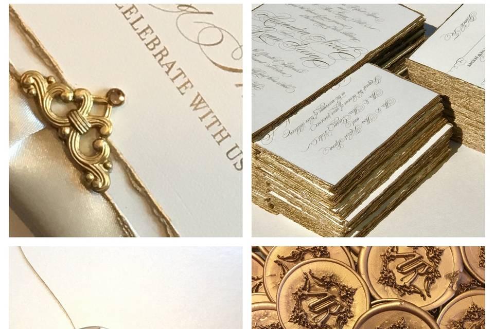 Gold leaf edge invitation