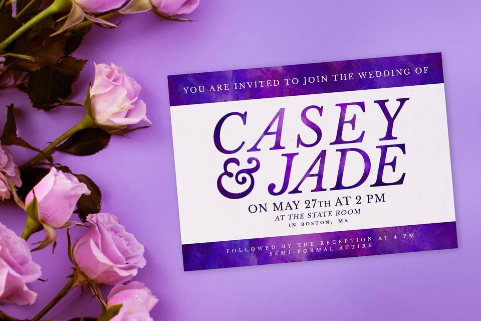 Purple & white invitation