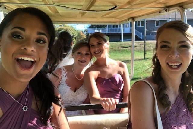 Bridal Party Golf Cart Ride