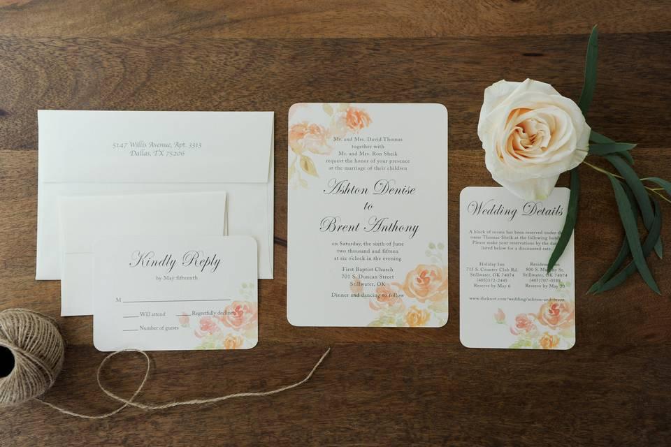 Romantic Floral Watercolor Wedding Invitation Suite