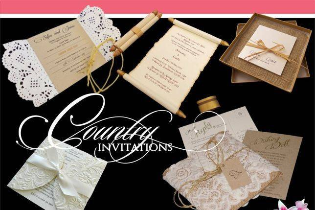 Country wedding invitations with rustic materials. Also suitable for barn, shabby chic, boho or rustic weddings.