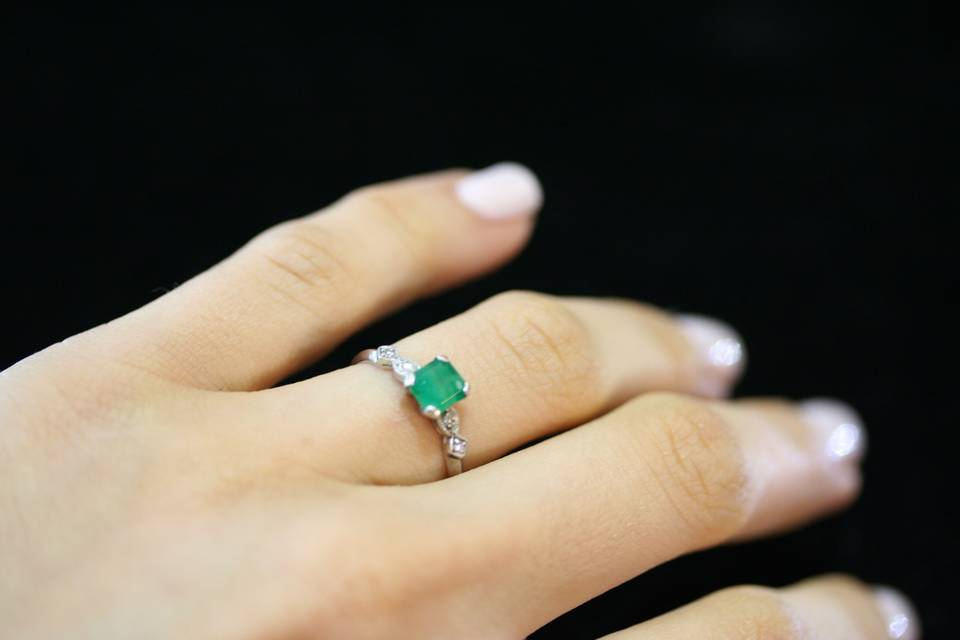 emerald engagement ring custom designed and handmade by Secrète Fine Jewelry in Bethesda, MD and Washington, DC