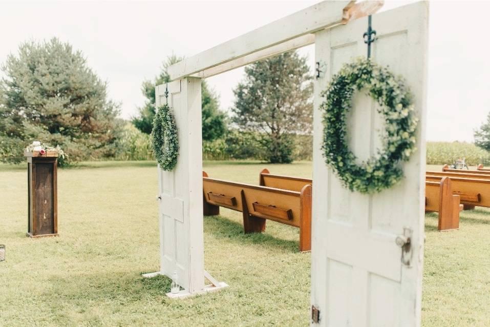 Ceremony with white doors