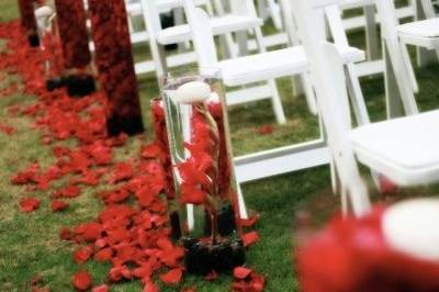Luscious red petals give this ceremony aisle a rich feel. More petals fill the clear glass cylinders along the aisle. After the ceremony, the cylinders were moved inside to the reception tables - this helped the couple maximize their budget.