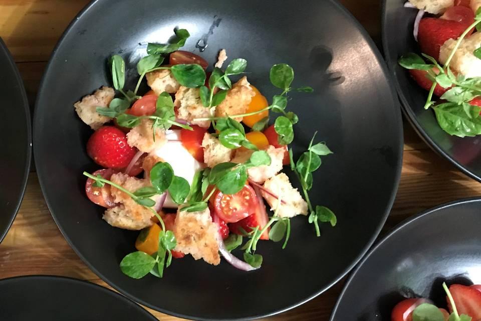 Burrata strawberry panzanella