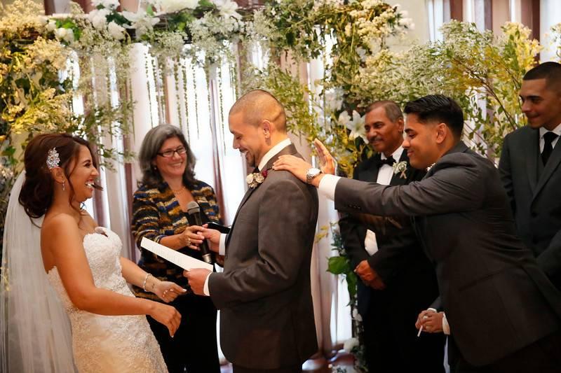 Cheering the groom on