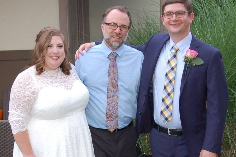 Reverend Korte with the newly weds
