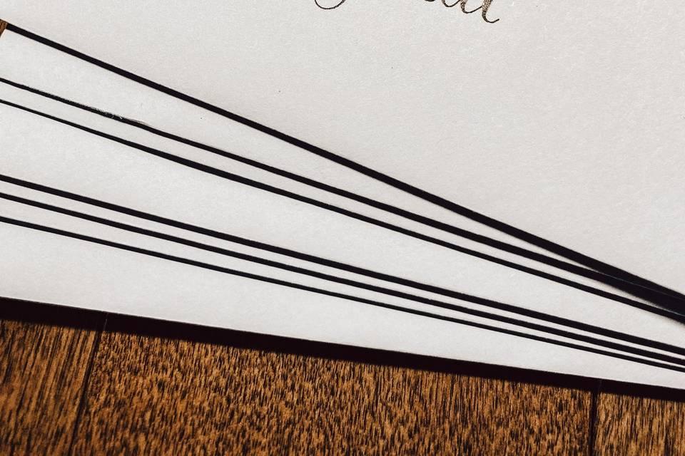 Light blue envelope, black ink