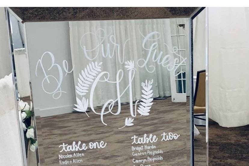 Personalized mirror seating chart