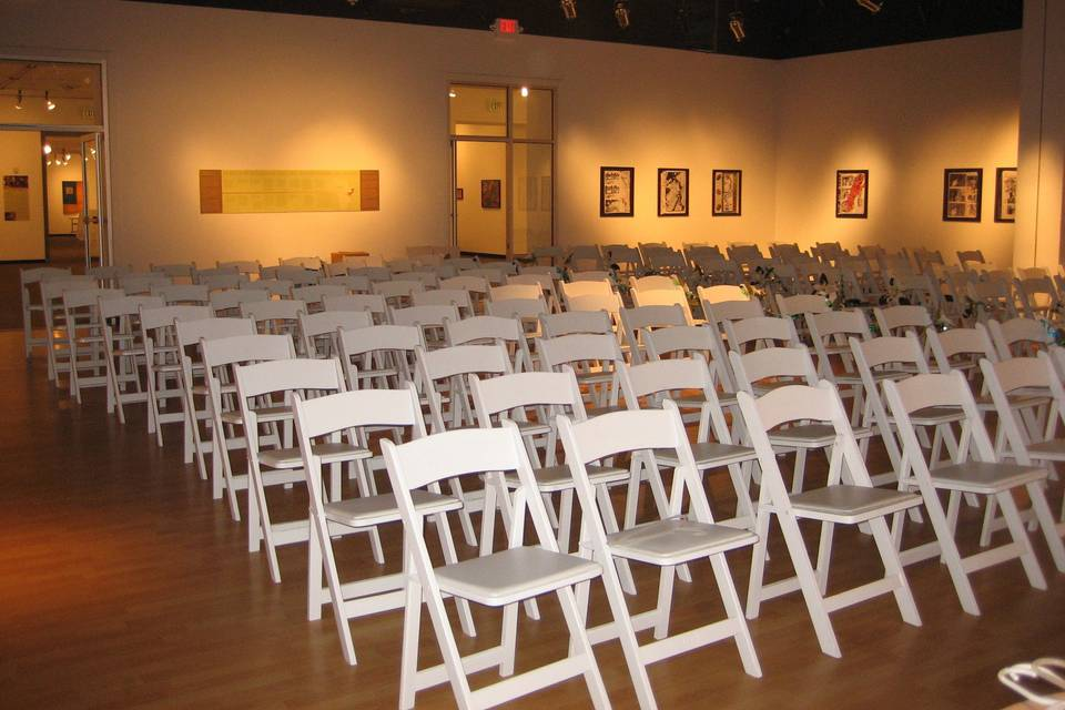 Wedding Ceremony set up in our Back Gallery