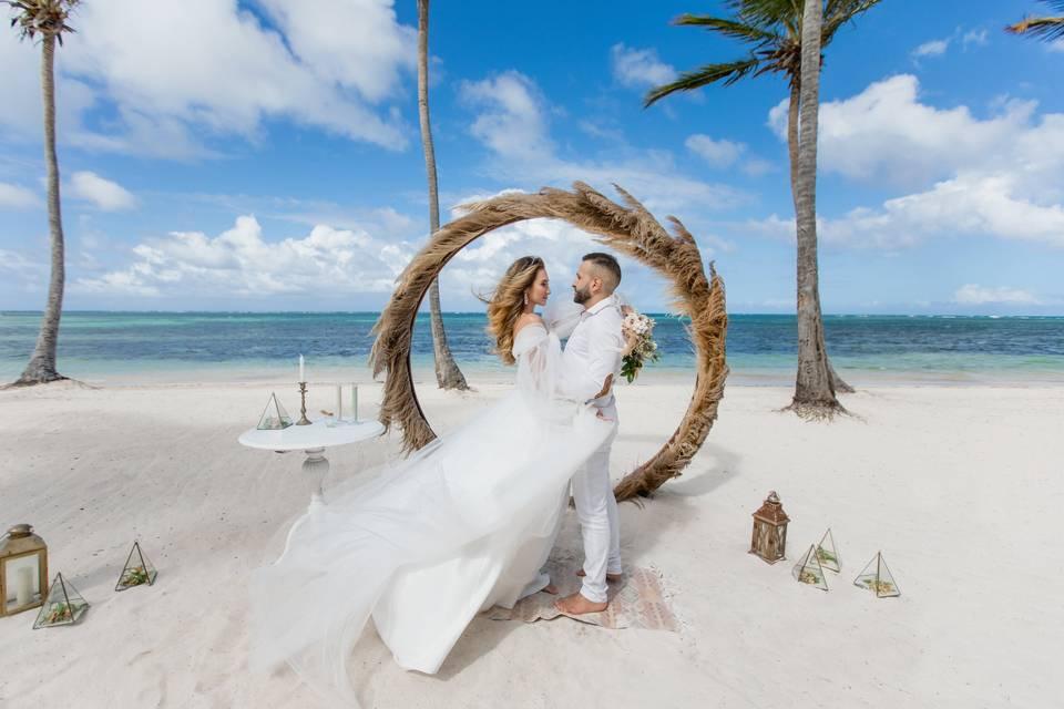 Pampas grass wedding backdrop