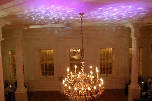 Ceiling projection and chandelier