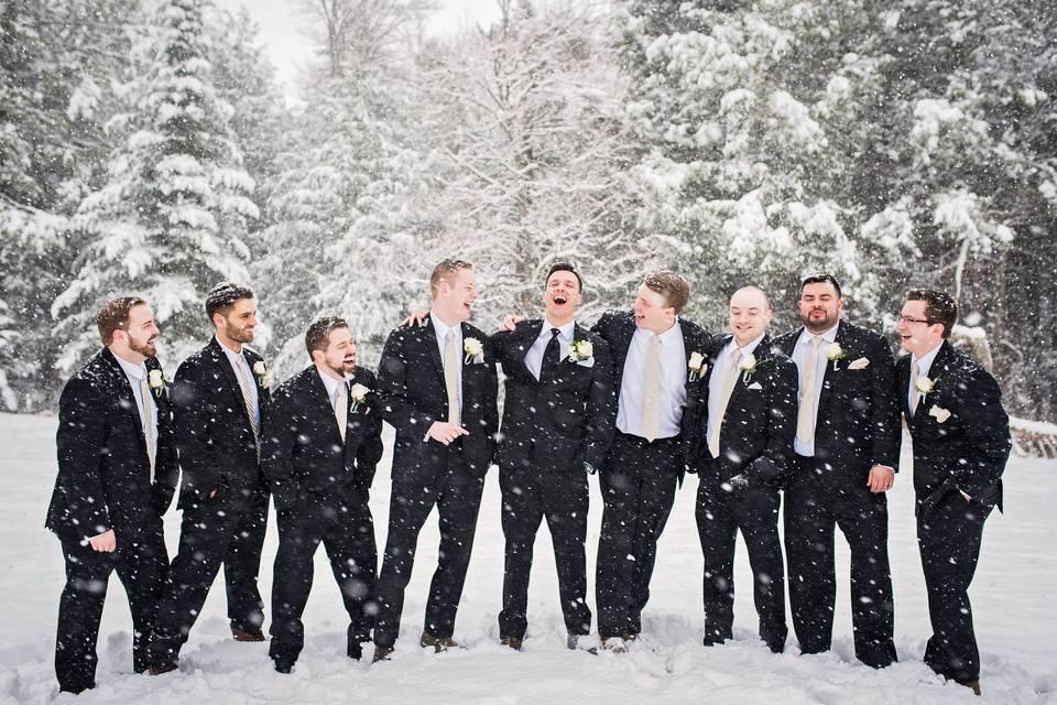 Groomsmen in the snow