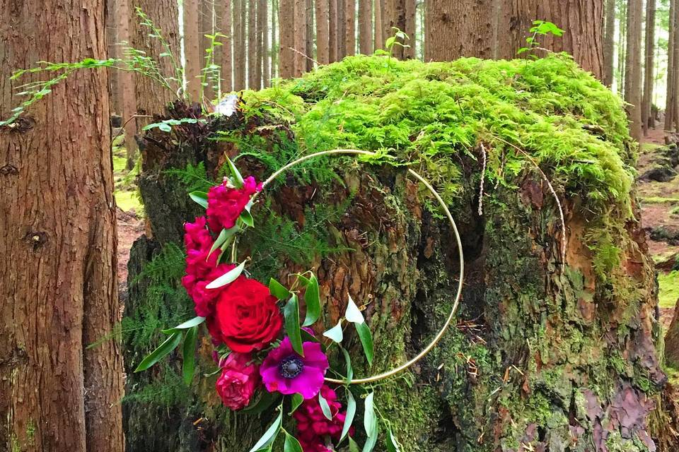 Bridal hoop bouquets