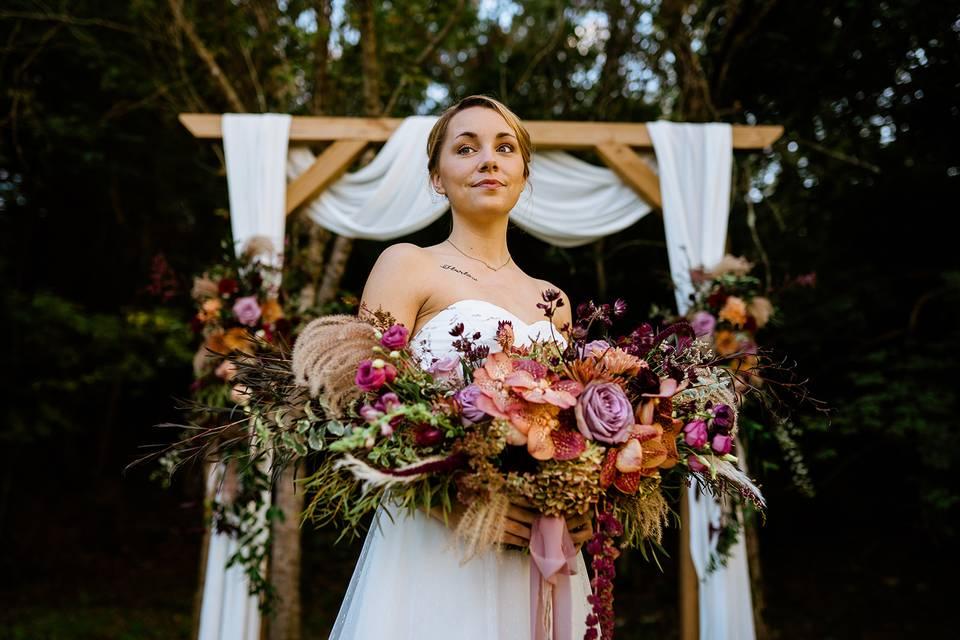 Lush Fall Installation & Bride