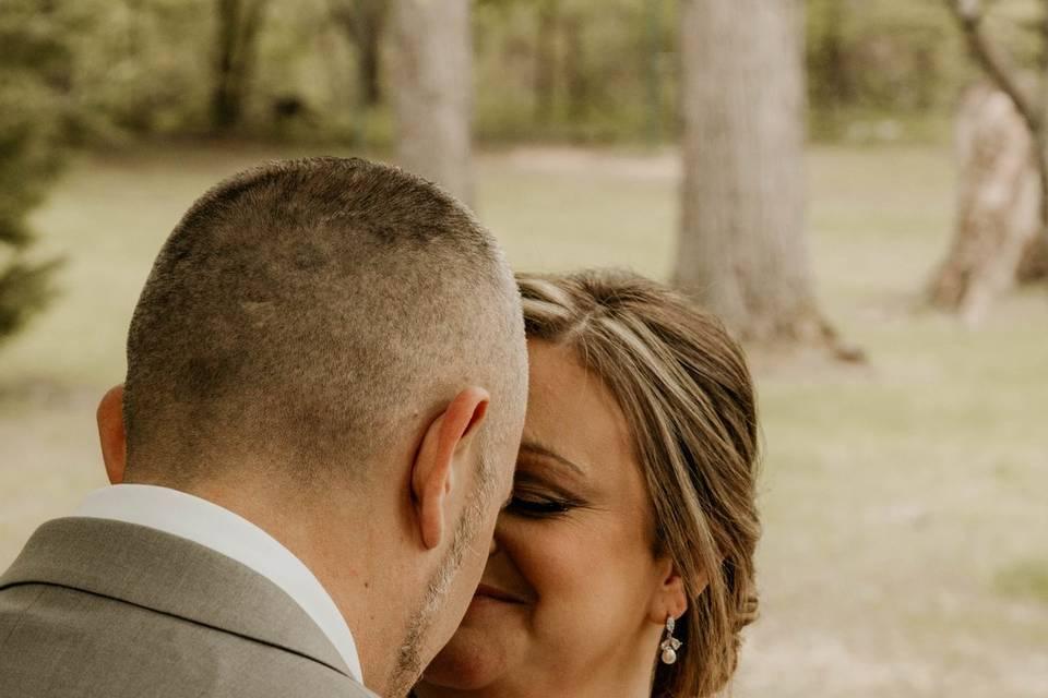 Moment between bride and groom