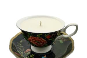 Tea Cup Candle-Black