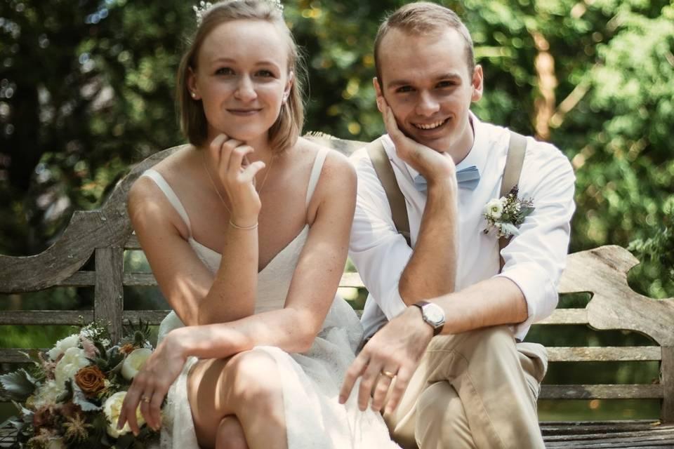 Newlyweds pose - Wildflower Films