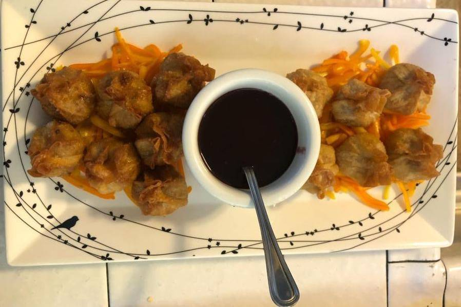 Hand-wrapped crab wontons