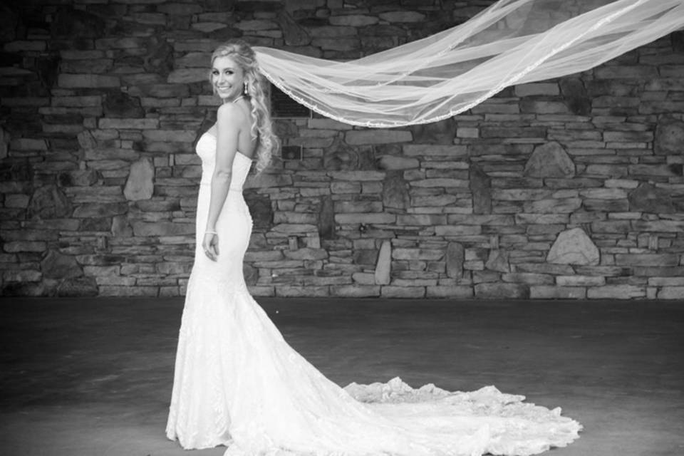 Flowing veil in black and white photo