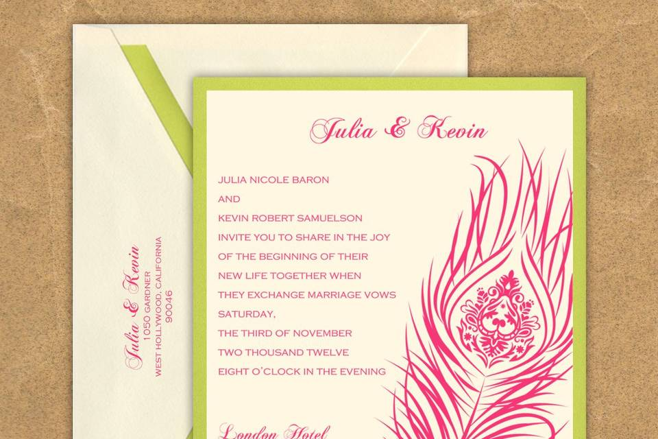 This stylish wedding invitation features two layers of luxurious card stock and a stylish peacock feather design.  The design has an intricate detailed inner pattern as well. Your text and graphics are imprinted with raised ink printing. Card colors, paper types and envelopes are all changeable, so mix and match for your wedding colors.Dimensions: 5.125