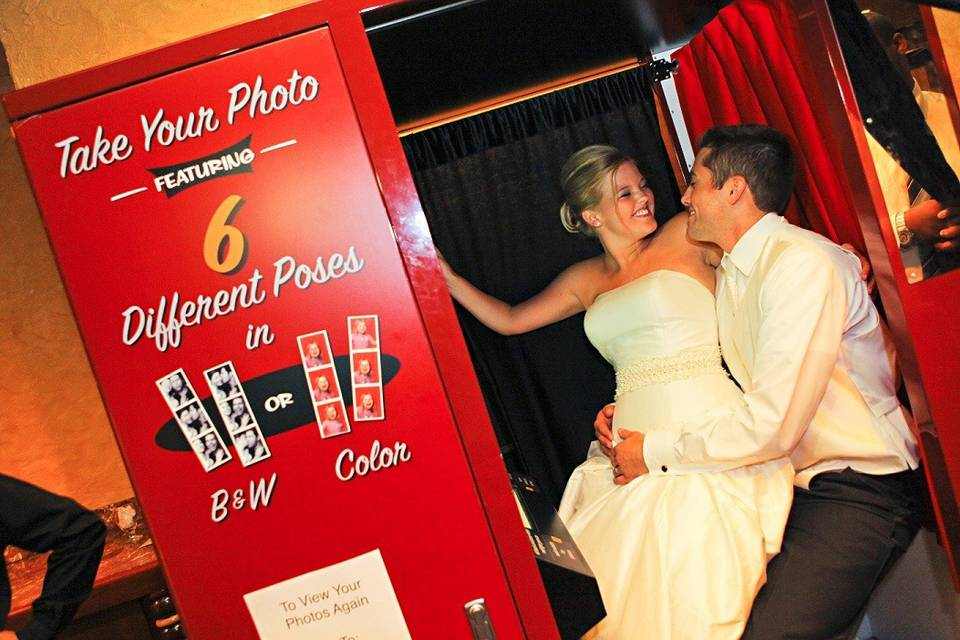 Red vintage steel photo booth
