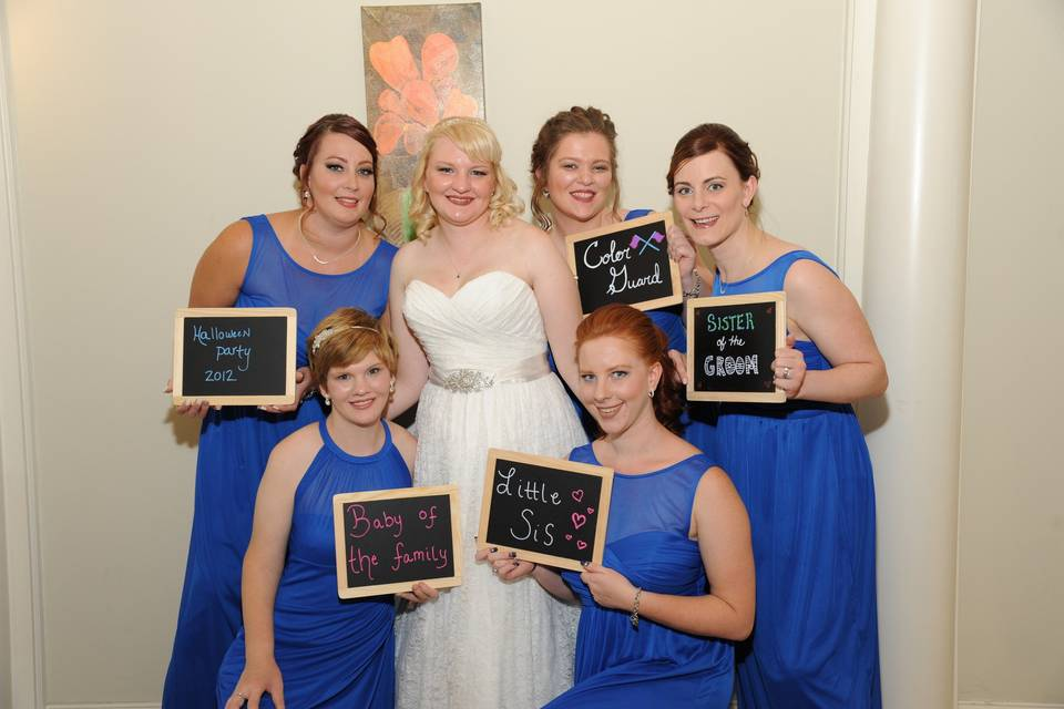 Brides with chalkboard signs