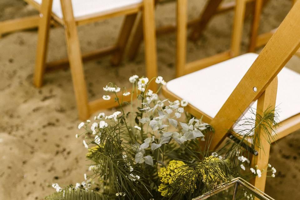 Beach ceremony flowers