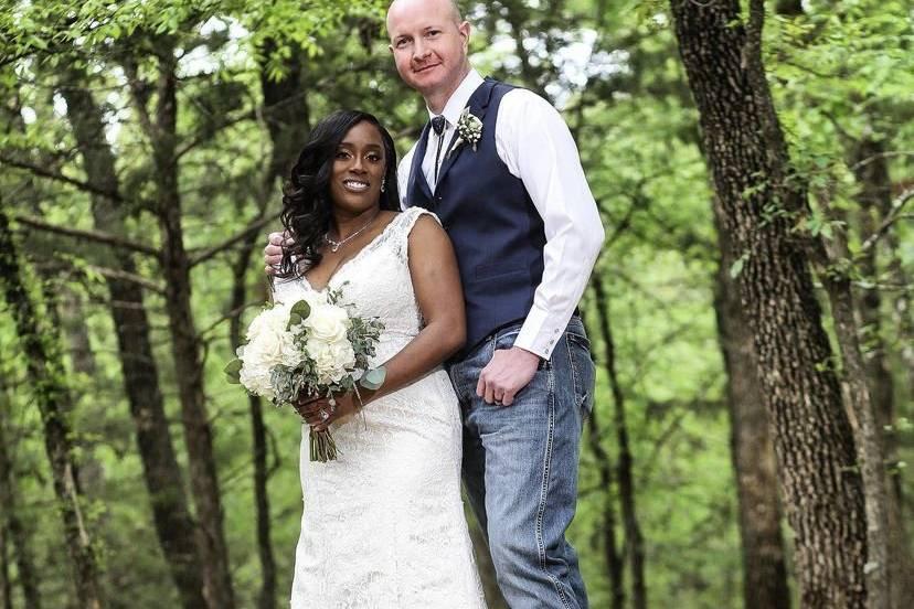Husband and wife wedding photo
