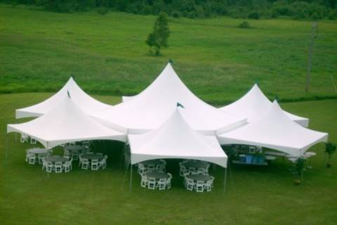 Hexagon tent with 5 - 20 x 20's | seats 300 - 440