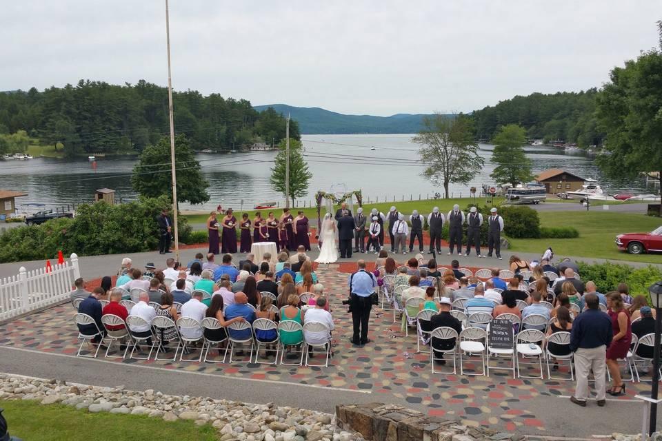 Lake view wedding ceremony