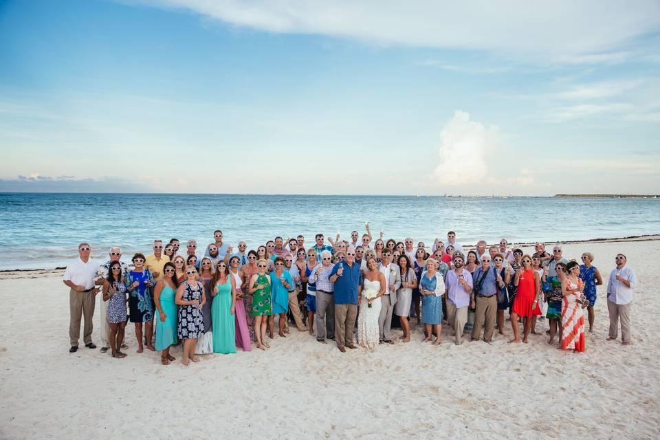 Happy wedding party at Paradisus Palma Real in Punta Cana