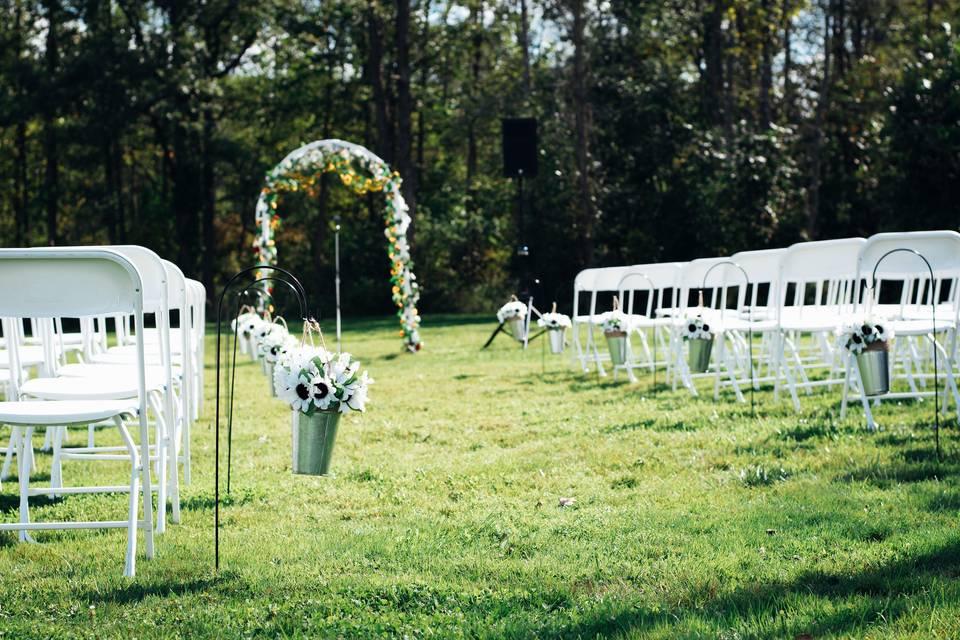 Outdoor wedding ceremony area.