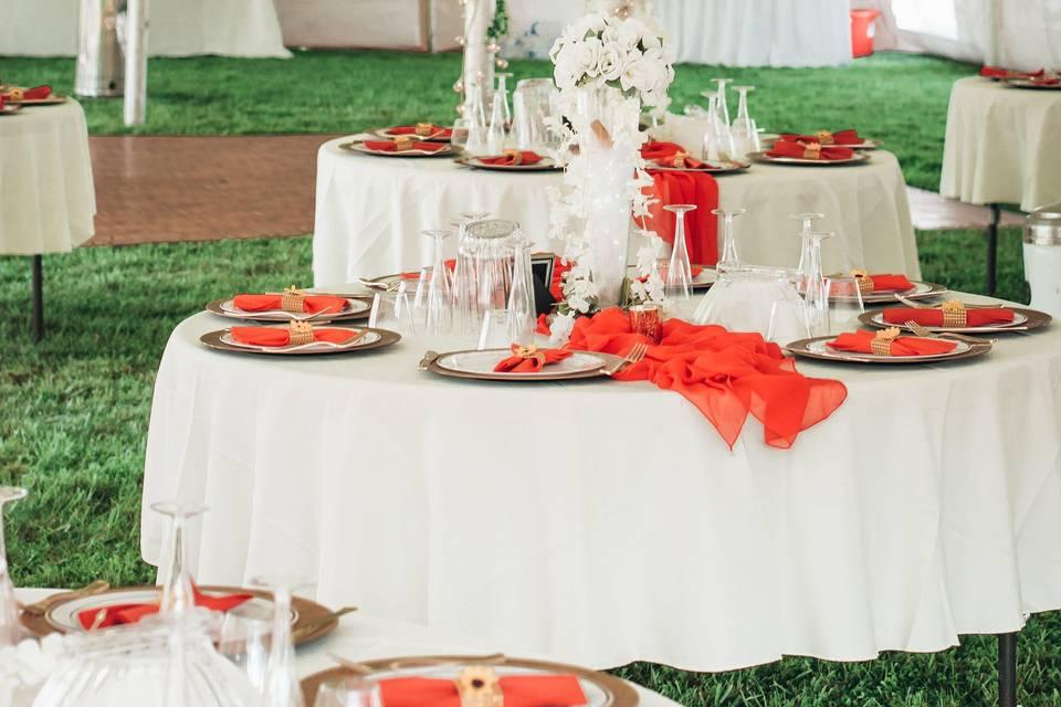 Backyard, tent wedding!