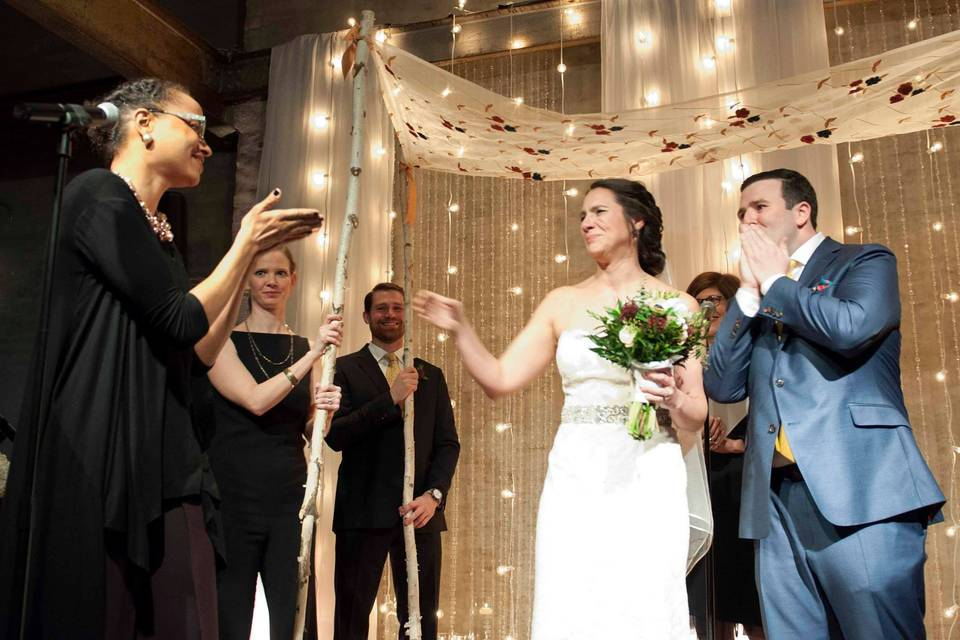 Newlywed couple exit