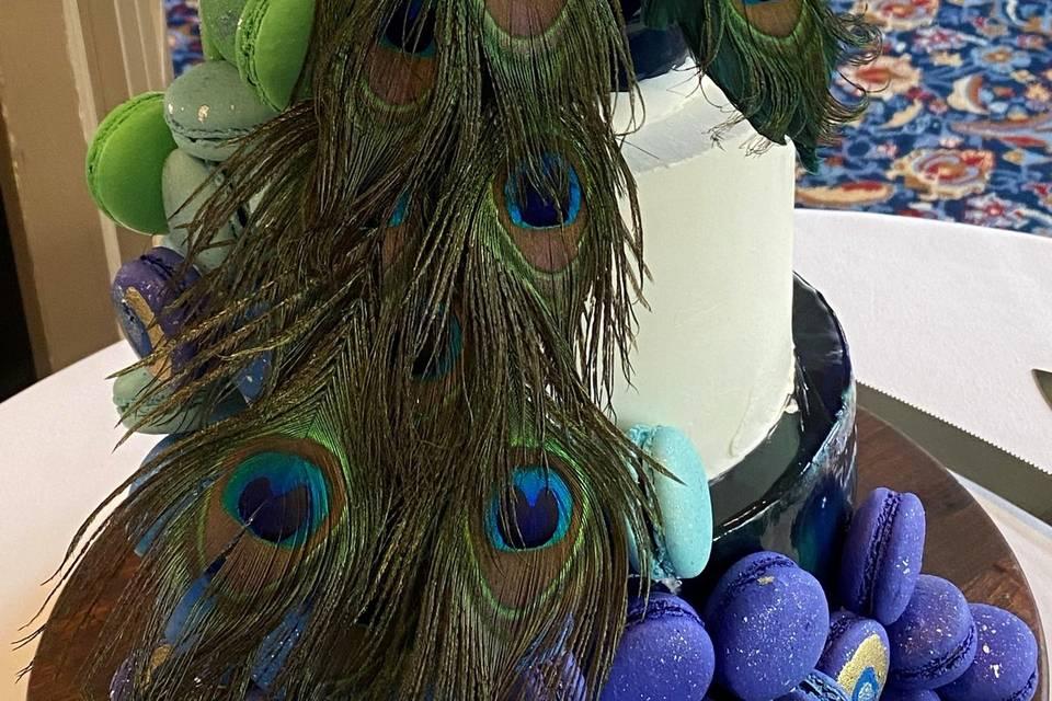 Closeup of Peacock Cake